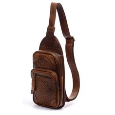 890e38447e6c 10 Men Leather Chest bag Brown sling vintage single by nooooin