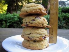 """[Thick] Chocolate Chip Cookies - according to the author, """"these cookies are quite thick, soft and gooey with chocolate chips. They are based on the classic Nestle Toll House recipe. In order to create the extra thick cookie, I experimented with different baking methods and times until I had the exact process down."""""""