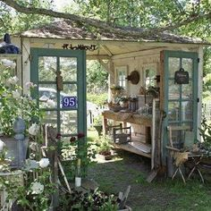Check out this Recycled garden shed. I love how open it is More The post Recycled garden shed. I lo . Outdoor Rooms, Outdoor Gardens, Outdoor Living, Garden Cottage, Home And Garden, Diy Garden, Garden Nook, Garden Arbor, Old Garden Gates