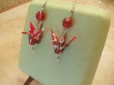 Items similar to Red origami peace crane earrings on Etsy Paper Earrings, Drop Earrings, Red Paper, Crane, Color Red, Origami, Arrow Necklace, Jewels, Beads