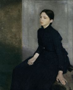 Retrato de una joven mujer. La hermana del artista, Anna Hammershoi. 1885. Vilhelm Hammershoi