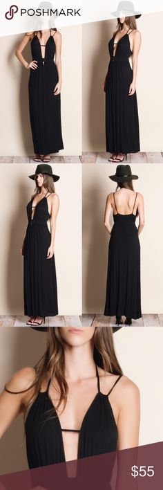 """Black Maxi Dress Black maxi dress. This is an actual pic of the item. All photography done personally by me. ABSOLUTELY NO TRADES DO NOT ASK.   true to size  • Mirela is wearing the size small • her measurements: 5'10"""" Bust 33 inches Waist 24 inches Hips 36 inches Bare Anthology Dresses Maxi"""