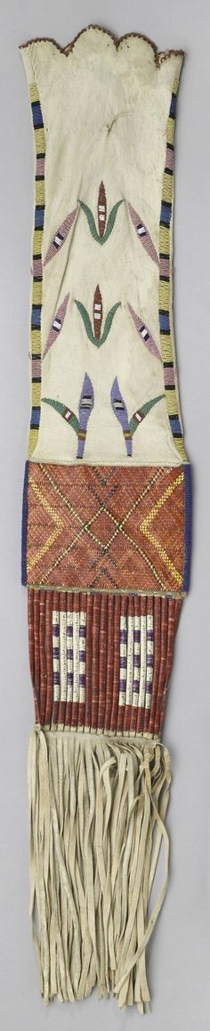 A rare and unusual Fort Berthold quilled tobacco bag  Mandan, Hidatsa, or Arikara, the neck with floriforms and banded beading, densely woven quilled central panels differ on each side, the quill-wrapped rawhide slat section leading to thick fringe suspensions.  length 40in