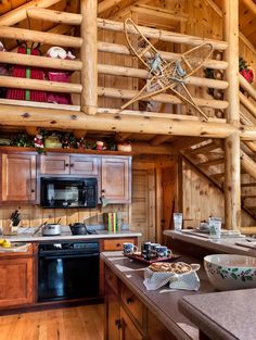 log home kitchen.  I'm not a fan of the non-matching finish on those cabinets.  I would have painted.  Maybe a rustic, worn finish of a contrasting color.  #loghome #kitchen