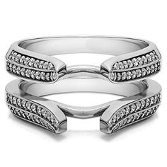 14K White Gold Plated Sterling Silver Base Cubic Zirconia Double Row Chevron Style Ring Guard (0.4 Carat)