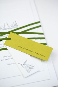 Yonder Design | Letterpress, Custom Invitation, Graphic Design, Wedding Trends 2016, Wedding Inspiration, Luxury Wedding Design, Event Design, Natural Wedding, Green Wedding, Nature Wedding, Japanese Cane Paper, Custom Branch Illustration, Green Ribbon and Tags, Eucalyptus Tree, Cavallo Point, California Wedding, Custom Tags