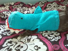 Hand Knit One-Size-Fits-Most Blue Shark by AllieKnitsThings