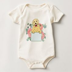 #Golden Retriever Holding Sign Baby Bodysuit - #golden #retriever #puppy #retrievers #dog #dogs #pet #pets #goldenretriever