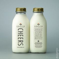 The shape of these milk bottles has a very retro feel, one that connects the consumer back to the days of the milk men. The gold cap gives a very striking contrast but is somewhat muted to a brown by the overwhelming white of the  milk.