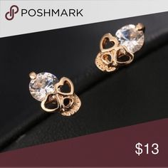 Pink Gold Skull Studs Pink Gold Rhinestone Skull Studs Jewelry Earrings
