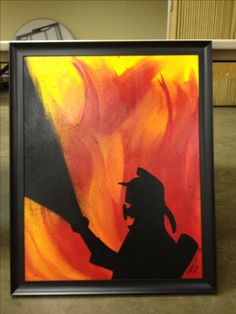 """Artist in Action's(Sarah Shelton)a firefighter, """"Fight the Flames"""" acrylic on canvas, Sold!"""