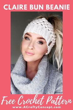 Learn how to crochet my best selling messy bun beanie for FREE! This crochet messy bun beanie has been my best selling design since 2016 and I am providing it to you guys here for free! Beanie Pattern Free, Crochet Beanie Pattern, Redheart Free Crochet Patterns, Beanie Knitting Patterns Free, Crochet Slouchy Beanie, Modern Crochet Patterns, Mode Crochet, Knit Crochet, Crochet Hats