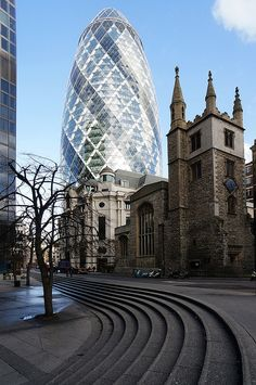 London today, a mix of the old and new, 1 St Mary Axe (The Gherkin) and St Andrew Undershaft Church