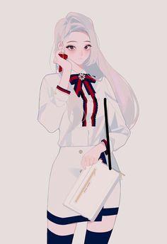New Korean Anime Aesthetic Wall Paper 22 Ideas Manga Girl, Manga Anime, Anime Wolf, Anime Illustration, Character Illustration, Kawaii Anime Girl, Anime Art Girl, Anime Girls, Korean Anime