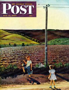 Muddy Walk Home by John Falter, May 13, 1950, The Saturday Evening Post.