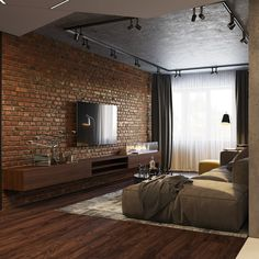 Tag Your Friends Who'd Love This Design! Swipe left to see more from this cool loft apartment design by Industrial Interior Design, Industrial Interiors, Home Interior Design, Interior Styling, Industrial Living, Industrial Bedroom, Industrial Chic, Kitchen Industrial, Industrial Shelving