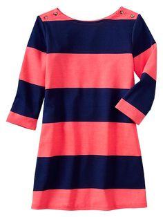 Button stripe ponte dress Product Image