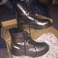 Pewter / Silver Dr. Martens The color looks great when you put them on. UK SIZE 4..... US SIZE 6 Dr. Martens Shoes Ankle Boots & Booties