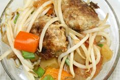 GINGER PORK MEATBALLS WITH MUNG BEAN SPROUTS~ INGREDIENTS ~  Ground pork - 1/2 pound minced fresh ginger - 1/2t onion - 1 whole egg - 1 whole breadcrumbs - 1/2c soy sauce - 2T salt - 1/2t black pepper - 1t Xiao Xing rice wine - 1T sesame oil - 2 drops vegetable oil - 2T garlic - 1t minced ~~