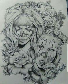 Sketch Tattoo Design, Tattoo Sketches, Tattoo Drawings, Drawing Sketches, Tattoo Designs, Chicano Drawings, Chicano Art, Girl Tattoos, Tatoos