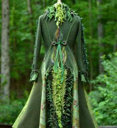 Lange Boho Pullover Mantel Wald Patchwork grün Eco von amberstudios                                                                                                                                                                                 Mehr