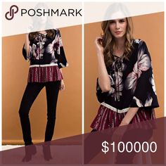 Stunning floral black and deep burgundy blouse! Give your look an exotic feel in the whimsical style blouse. Features a V-neckline with lace-up detail, bell sleeves, crochet detail waist and ruffled bottom. Mixed prints lend a fun, playful look. Tops Blouses