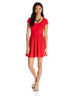 My Michelle Juniors Lace Cap Sleeve Dress with Necklace Scarlet Large *** Learn more by visiting the image link.