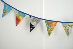 DIY paper bunting out of old maps for boys room