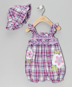 Take a look at this Purple Plaid Romper & Hat - Infant by Young Hearts on #zulily today!