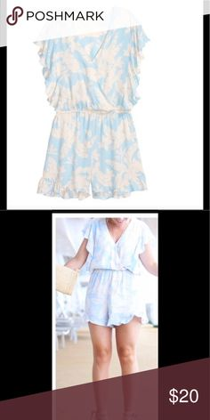 H&M Pale Blue Floral Romper H&M Pale Blue Floral Romper *Brand New*. A must have for this summer. Comfy, flirty, chic. Can wear with your favorite wedge heels, white sneakers or flat sandals. Very cute and versatile!! H&M Shorts