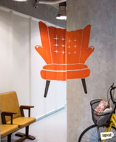 The Space Encounters office showcases consistent branding, a refined take on mid-century design through finishes and furniture, and thoughtful details. Cool Office, Mid Century Design, Manila, Offices, My Design, Cool Stuff, Space, Chair, Furniture