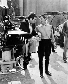 On the set of Stanley Kubrick's Spartacus with Tony Curtis, born 90 years ago today.