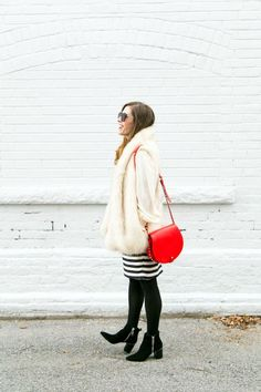 Perfect Work to Holiday Party Outfit Idea Holiday Party Outfit Striped Skirt, Art in the Find, striped pencil skirt, faux fur vest Striped Skirt Outfit, Winter Skirt Outfit, Stripe Skirt, Holiday Party Outfit, Holiday Outfits, Winter Outfits, Fur Vest Outfits, Tights Outfit, Holiday Fashion