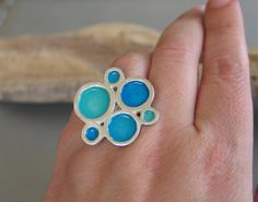 Sterling Silver Ring with organic Turquoise resin circles by etsy artist Maria