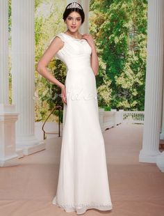 Sheath/ Column Floor-length Elastic Satin Chiffon V-neck Wedding Dress - $122.99