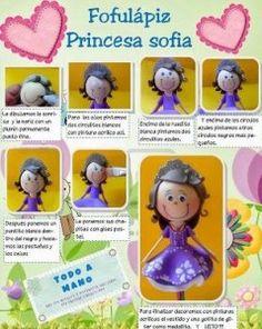Cómo hacer una fofucha lápiz de la princesa disney Sofía realizando manualidades para niños