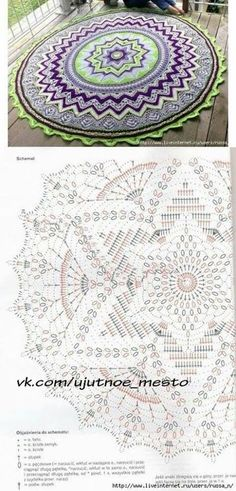 "ru ""Mandala A Crochet"", Patterns of crochet mandalas"" Crochet Mandala Pattern, Crochet Circles, Crochet Diagram, Crochet Carpet, Crochet Home, Diy Crochet, Crochet Doily Patterns, Thread Crochet, Knitting Patterns"