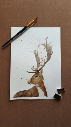 #акварельнаязима #kalachevaschool #watercolor #deer