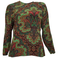Valentino 1970s Silk Paisley Long Sleeve Blouse Size 6/8. | From a collection of rare vintage blouses at https://www.1stdibs.com/fashion/clothing/blouses/ @1stdibs @Valentino #blouse #vintage #1970s #fashion #forsale