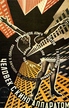 Russian Constructivist film poster utilizing photomontage, designed by Georgi and Vladimar Stenberg 1929.