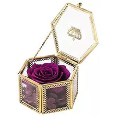 Handmade Fine hexagonal glass jewelry box make the rose more special; Rose diameter size: 3 – inch Glass box size: x x inch Shipping weight (including gift Features: Preserved fresh flower can stay for years,.