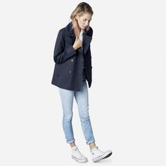 Navy pea coat, white shirt, faded denim jeans, white sneakers