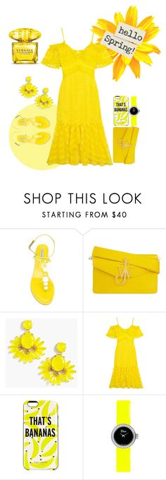 """Yellow-Rama"" by aleksandrapopovic ❤ liked on Polyvore featuring Tabitha Simmons, J.W. Anderson, J.Crew, Kate Spade, Christian Dior and Versace"