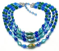 Blue & Green Glass Bead Necklace Vintage Multi Strand