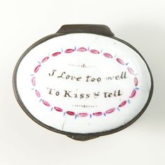 "Bilston Patch Box "" I love too well, to kiss & tell - The Antique Enamel Company"