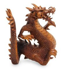 dragon wood carving | Legendary Dragon Suar Wood Carving from Indonesia