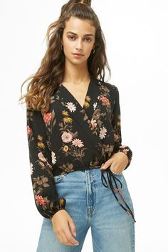 Product Name:Floral Print Wrap Top, Category:top_blouses, Casual Summer Outfits, Spring Outfits, Forever 21, Shop Forever, Outfit Goals, Outfit Ideas, Professional Look, Elegant Outfit, Everyday Outfits