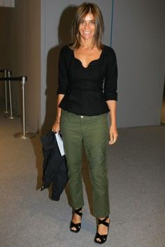 great age appropriate look on Carine Roitfeld (love the design of this top)