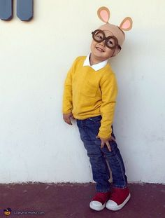 This is my 3 year old son Oliver dressed up as the PBS cartoon character Arthur. Very simple costume to put together - had the jeans, collared shirt and red shoes already.only had to find a yellow sweater. Arthur Halloween Costume, Arthur Costume, Diy Halloween Costumes For Kids, Halloween Costume Contest, First Halloween, Halloween Outfits, Halloween Ideas, Book Costumes, Cartoon Costumes