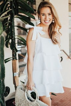 36 Make Your Amazing Day with White Ruffle Dress Cute Dresses, Casual Dresses, Short Dresses, Fashion Dresses, Summer Dresses, White Ruffle Dress, Fashion Tips For Women, Ladies Fashion, Womens Fashion
